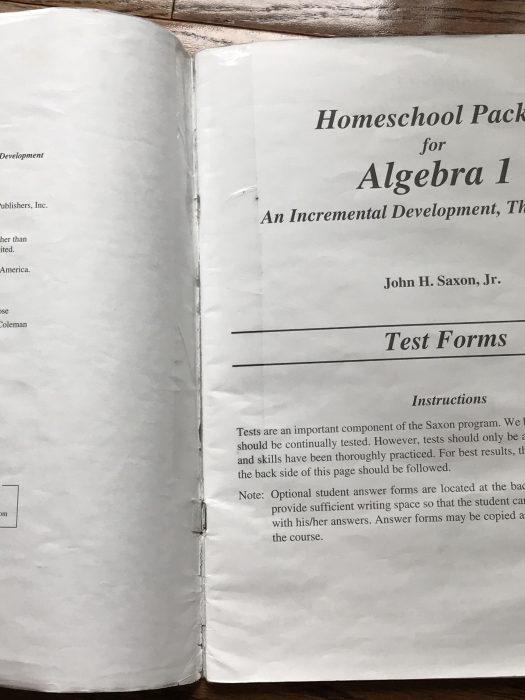 Saxon Algebra 1 test book