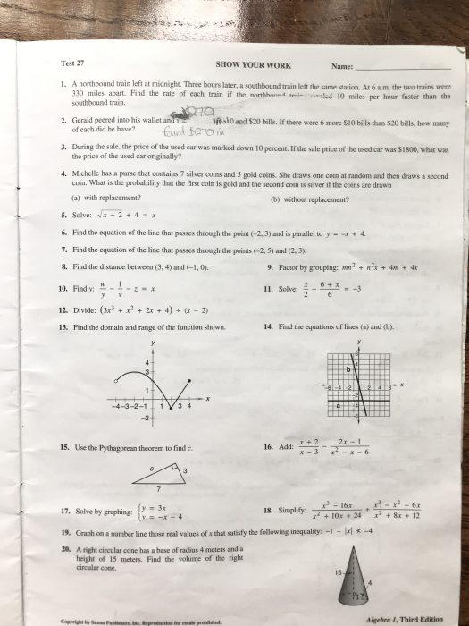 ripped Saxon Algebra 1 test book