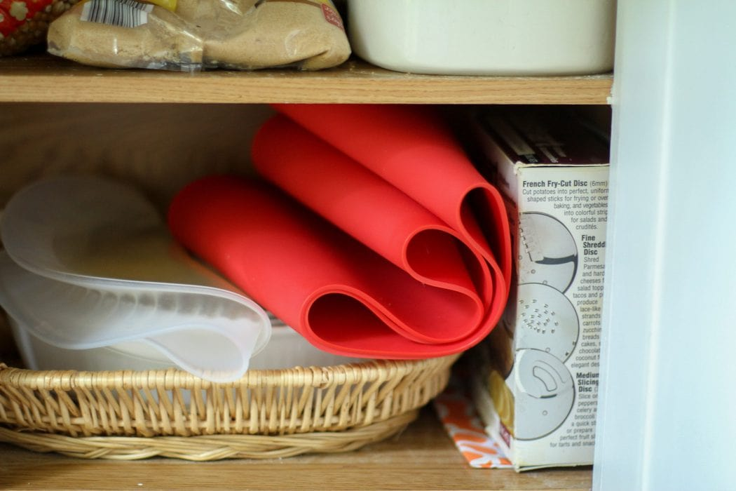 Frywall folded up in kitchen cabinet