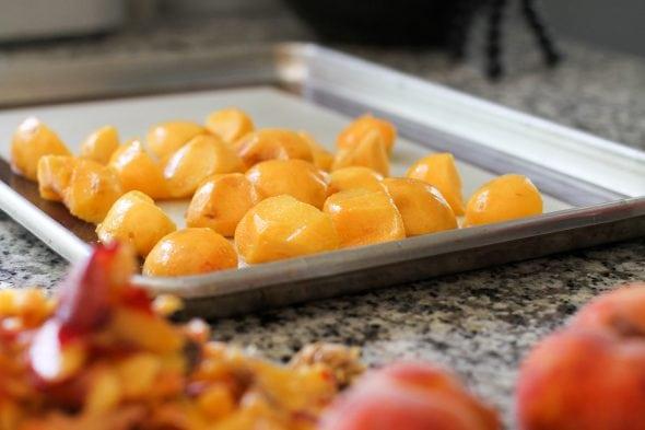 peaches prepped for home freezing