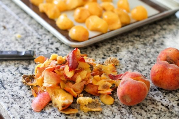 peach pits and peels on a countertop.