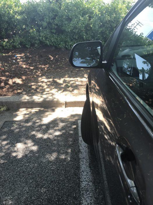 shady parking spot at Aldi
