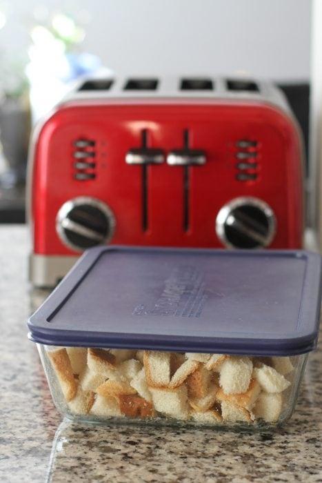 frozen bread cubes
