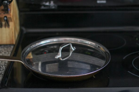 skillet on glass top stove