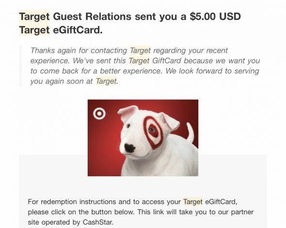 Target electronic gift card