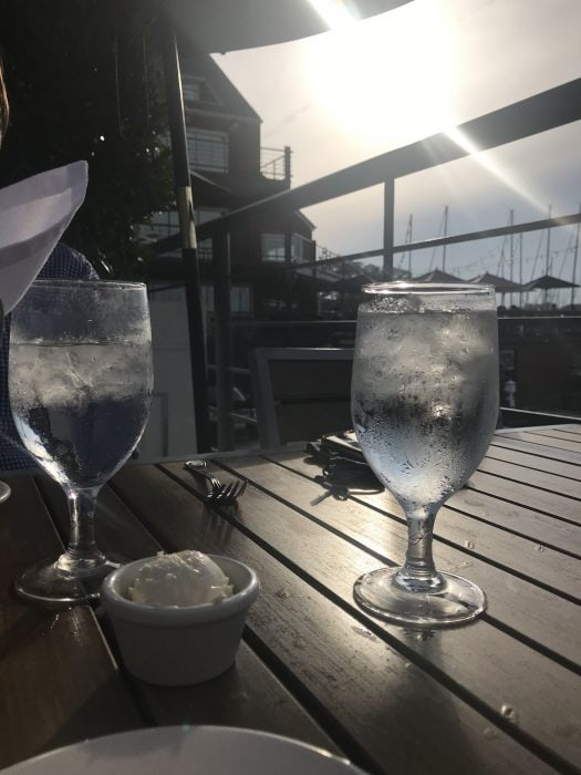 water glasses at a restaurant