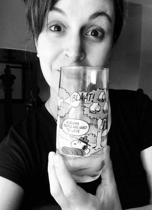Kristen and a Snoopy glass