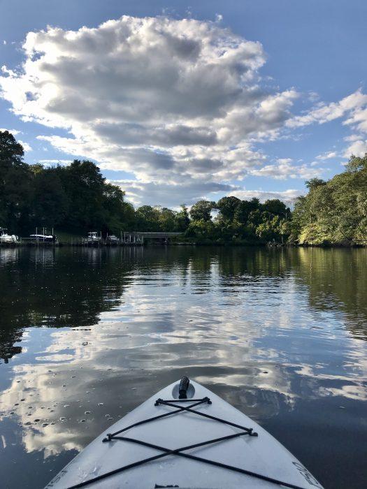 blue skies and a kayak