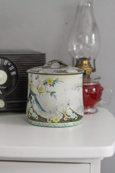 vintage button container