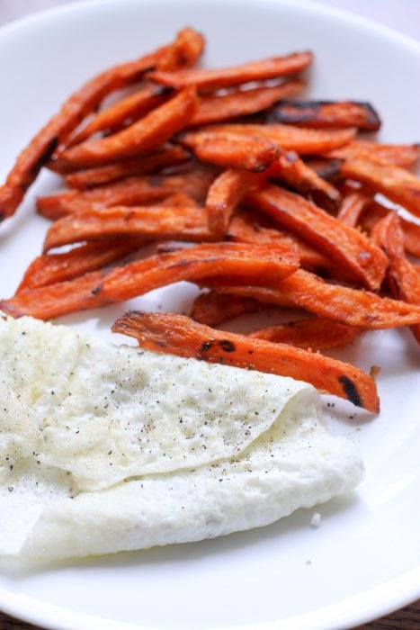 sweet potatoe fries and egg whites