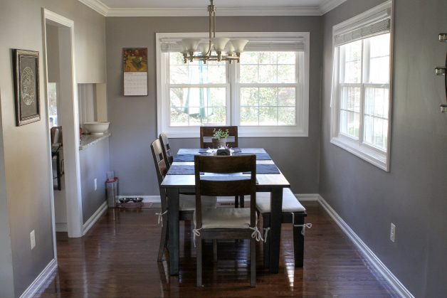dining room with two windows