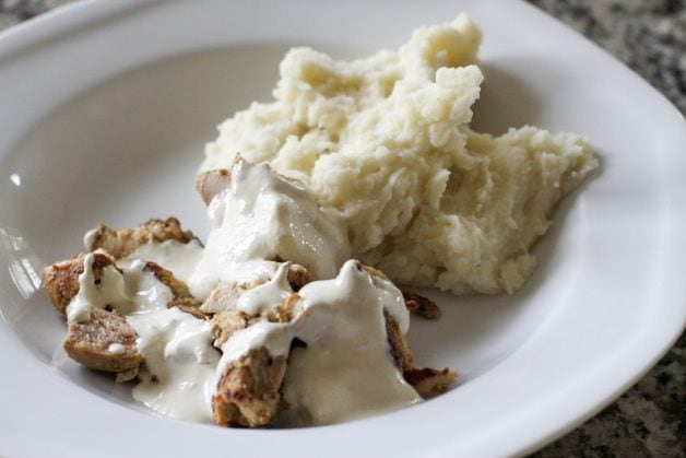 mashed potatoes with leftover Epis chicken