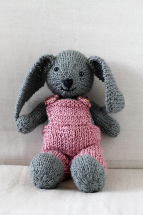 gray bunny with pink overalls