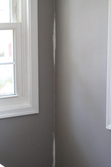 caulked drywall crack