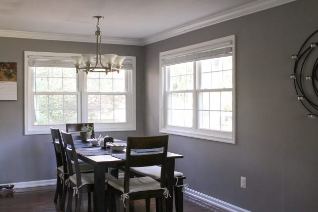 dining room with four windows