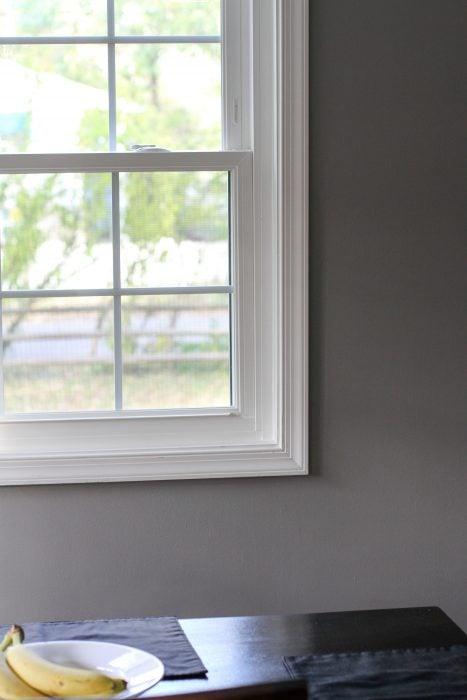 window in gray dining room