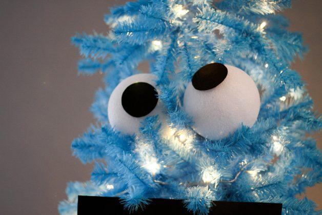 Cookie Monster Christmas tree eyeballs