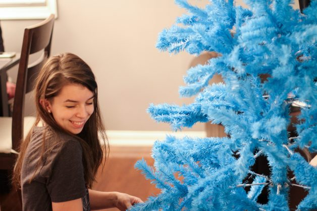 Lisey with a blue tree