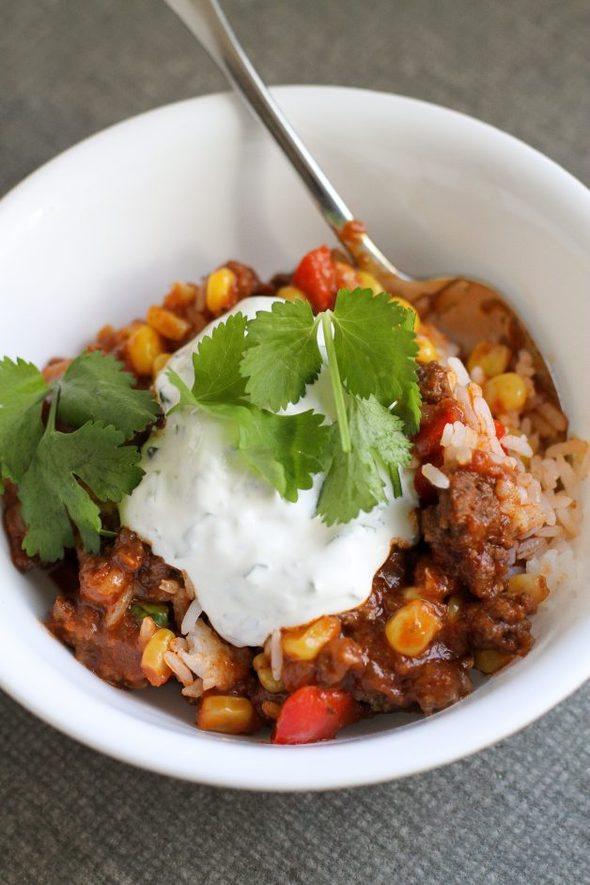 chili over rice with sour cream