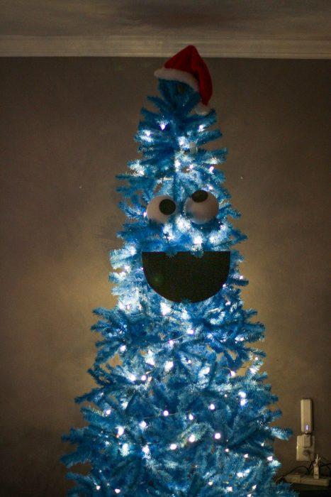 Cookie Monster blue Christmas tree