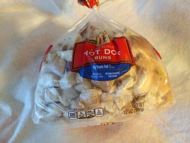 bread cubes saved in a freezer bag.
