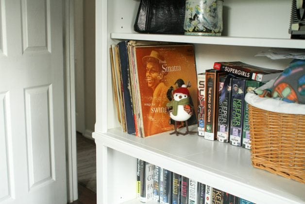 Records on bookshelf