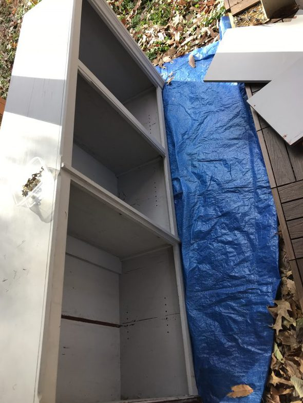 bookshelf before sanding