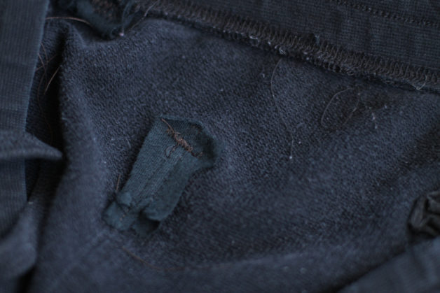 Inside of repaired joggers.