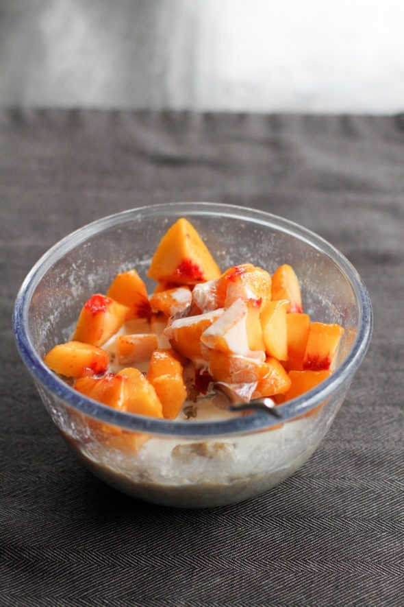 Oatmeal with frozen peaches.