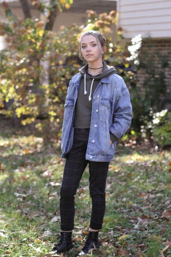 Zoe in a denim jacket
