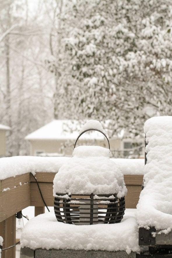snow on a deck.