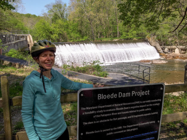 Kate near a waterfall.