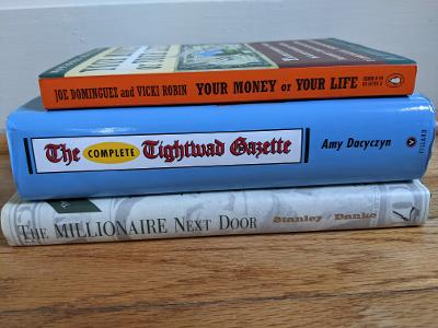 Pile of frugal books.