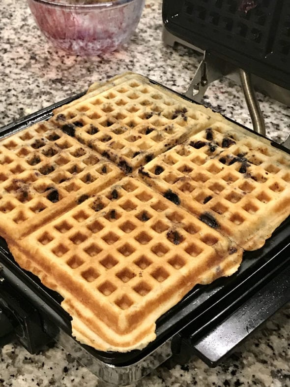 Four blueberry waffles.