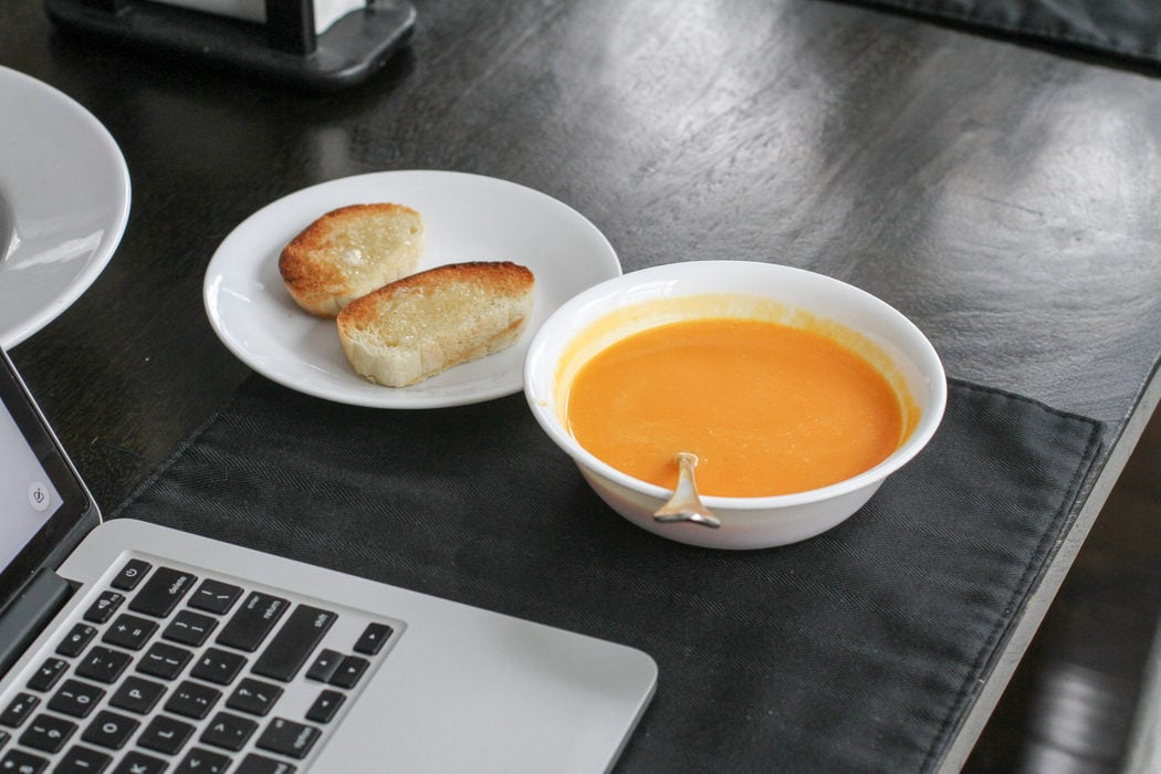 Butternut squash soup with toast.