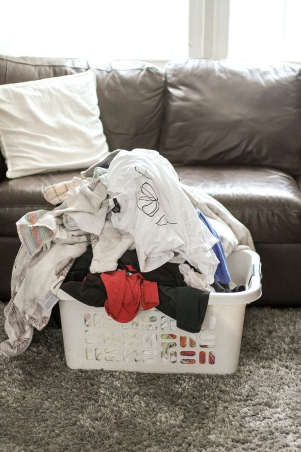 laundry in a white basket.