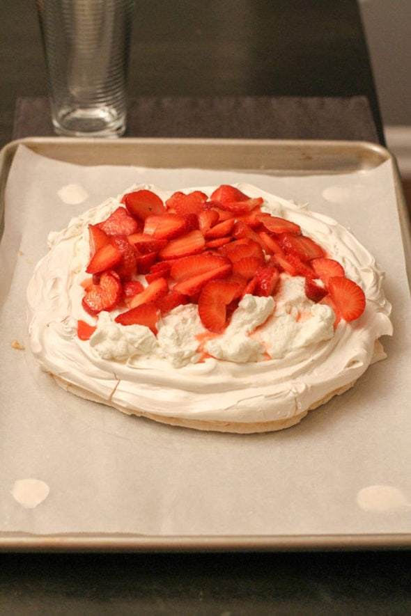 Pavlova topped with strawberries