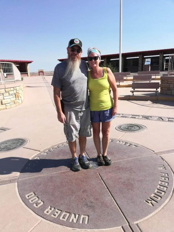 Sarah and her husband at the four corners.