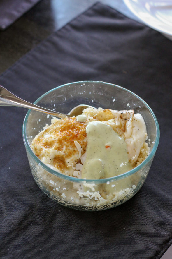 couscous with eggs and dressing.