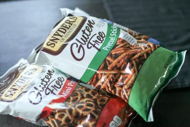 Three bags of gluten-free pretzels.