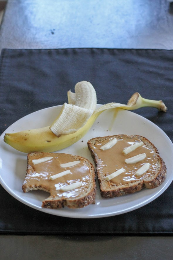 Peanut butter toast with banana.