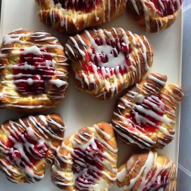 Plate of raspberry pastries.