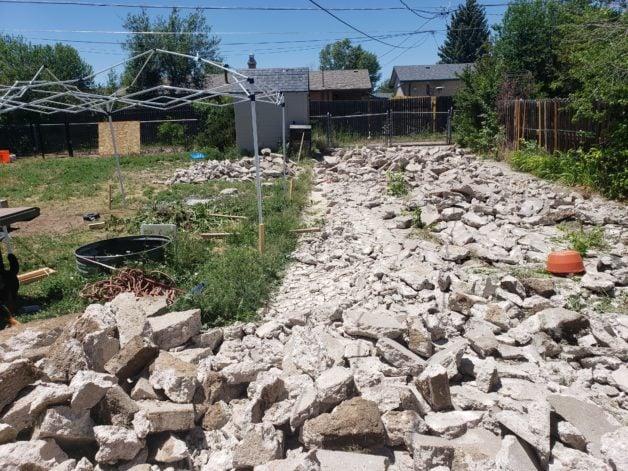 broken-up concrete