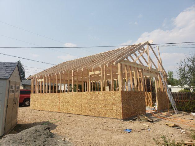 Reese's garage under construction.