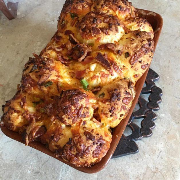 Jalapeno monkey bread in a pan.