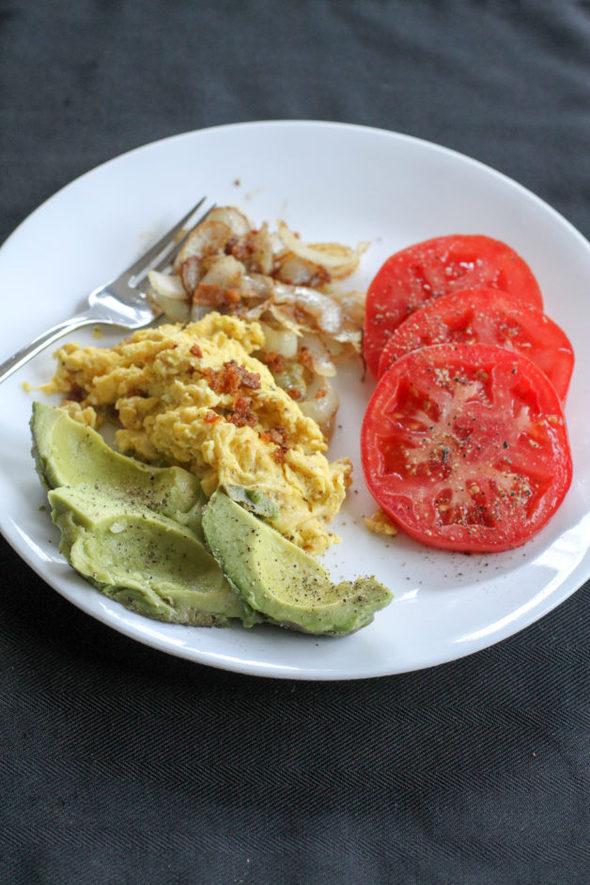 Scrambled eggs with veggies.