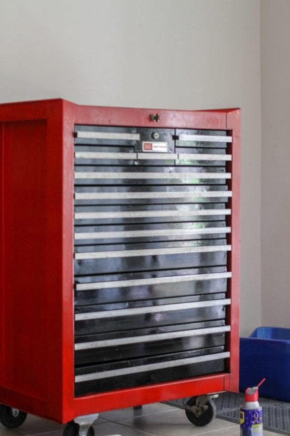 Repainted red and black Craftsman toolbox.