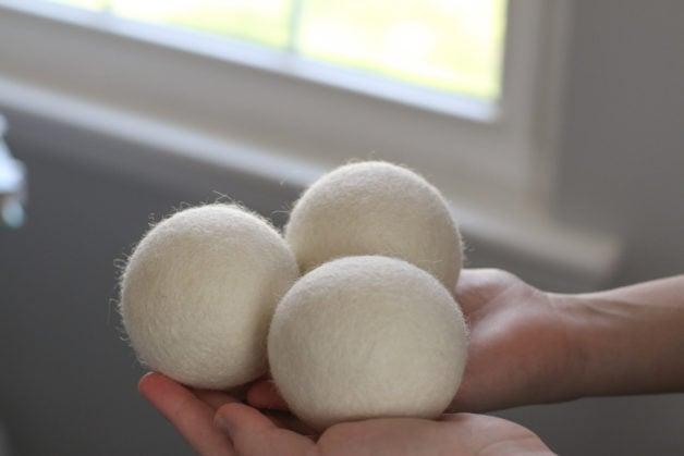 Three wool dryer balls.