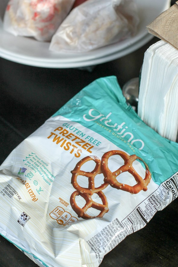 empty bag of glutino pretzels.