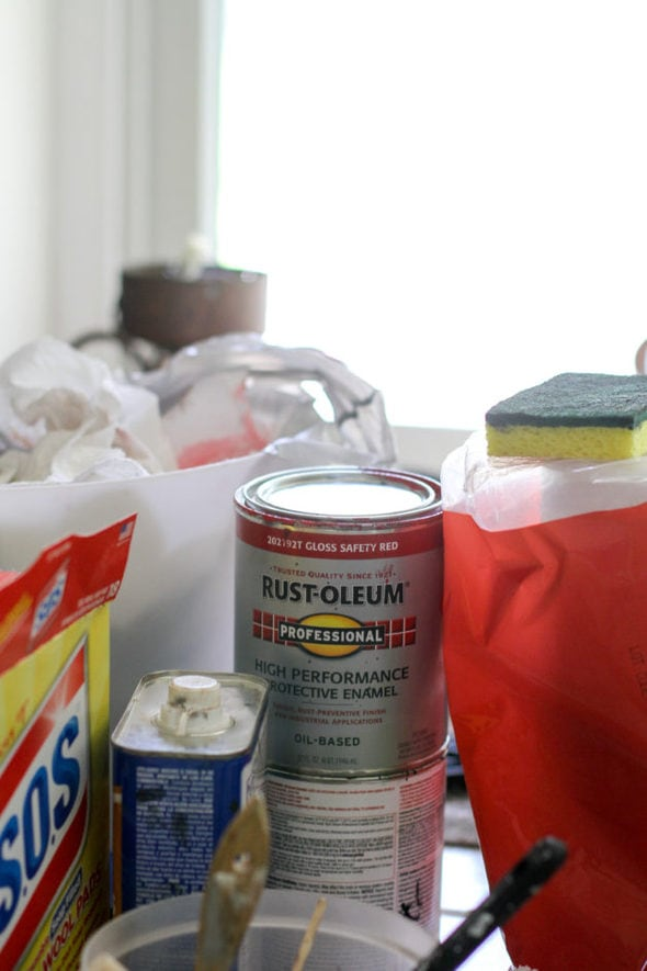 Rust-oleum red paint.